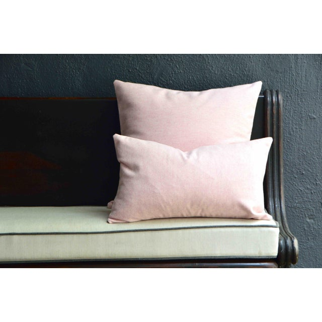 Contemporary FirmaMenta Italian Soft Virgin Wool Pink and White Pillow For Sale - Image 3 of 4