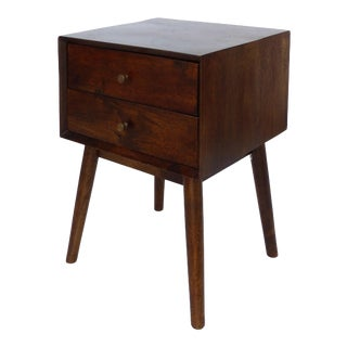 Mid-Century Modern Solid Mahogany Side Table W/ Two Drawers & Splayed Legs For Sale