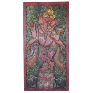 Vintage Wall Panel Hand Carved Ganesha Standing Door Colorful For Sale