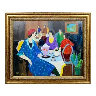 1970s Mid Century Modern Itzchak Tarkay Framed Original Acrylic Canvas Painting Lady For Sale