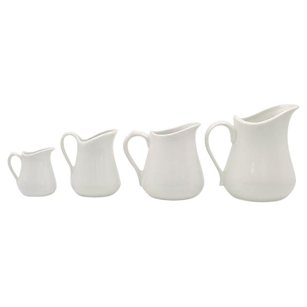 Vintage French Porcelain Graduating Pitchers - Set of 4 For Sale