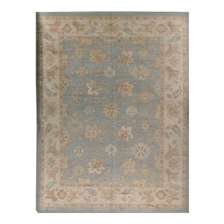 New Oushak Rug Soft Blue Wool Hand Woven in Turkey 12'8 X 16'10 For Sale