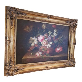 Late 20th Century Framed Floral Oil Painting by Franklin