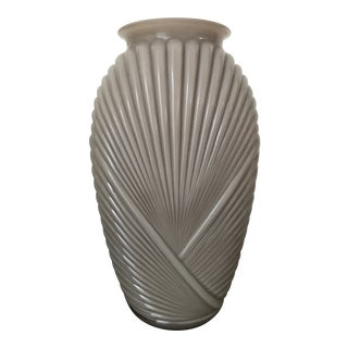 1930s Vintage Art Deco Taupe Ribbed/Draped Glass Vase For Sale