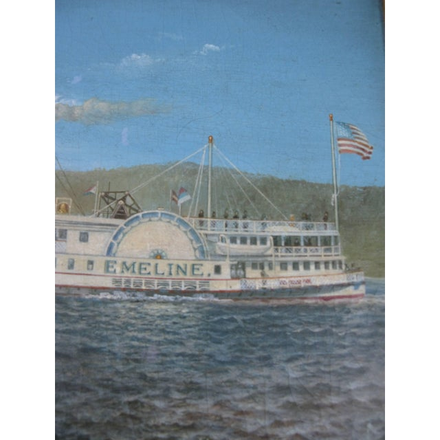 American Oil on Canvas Paddle Steamer Painting by Albert Nemethy For Sale - Image 3 of 6