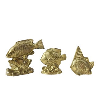 Late 20th Century Decorative Tropical Brass Fish Figurines - Set of 3 For Sale