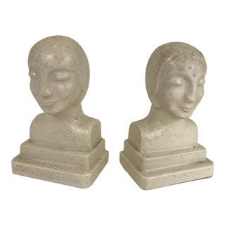 French Art Deco Stoneware Bookends - A Pair For Sale