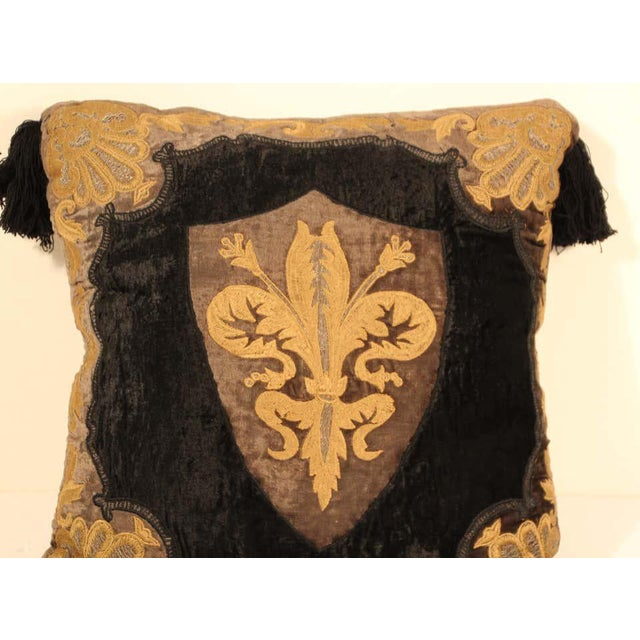 Brown Baroque Silk Velvet Applique Throw Decorative Pillow with Tassels For Sale - Image 8 of 11