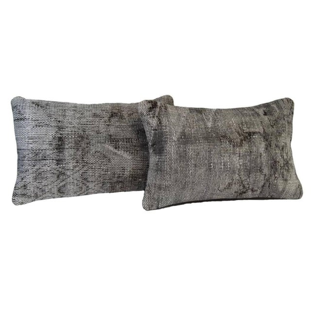 Gray Lumbar Over-Dyed Rug Pillow Covers - A Pair - Image 1 of 6