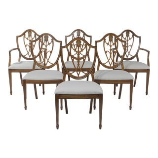 1950s Vintage Shield Back Mahogany Dining Chairs- Set of 6 For Sale