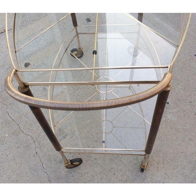 Mid-Century Brass & Glass Bar Cart - Image 7 of 11