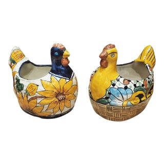 Vintage Mexican Folk Art Ceramic Rooster Planters - a Pair For Sale