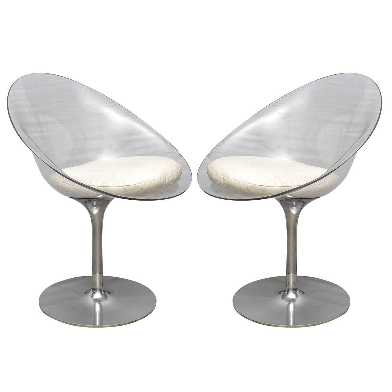 Nice Pair Of Philippe Starck Lucite And Chrome Eros Swivel Chairs By  Kartell  Italy