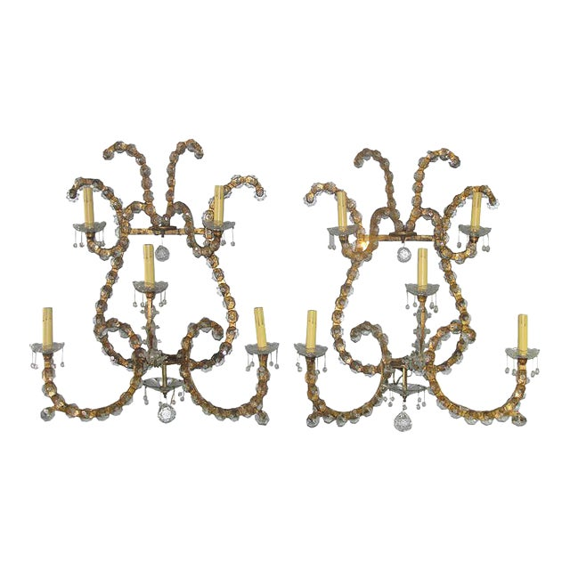 Oversized Gilt Iron & Crystal Sconces Attrib. To Jansen - a Pair For Sale