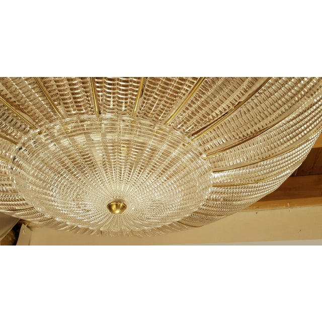 Brass Large Mid-Century Modern Round Clear Murano Glass Flush Mount For Sale - Image 7 of 12
