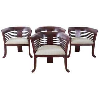 Art Deco Style Mahogany Sculptural Tub Chairs - Set of 4 For Sale