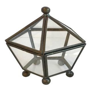 Vintage Mid-Century Brass and Glass Mini Curio Box For Sale