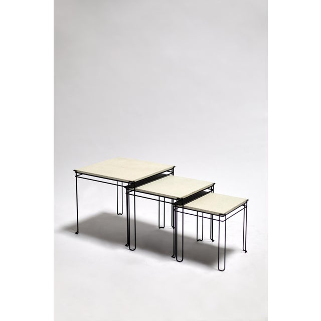 Metal Featured in The 2020 San Francisco Decorator Showcase — 1960s Mid-Century Modern White Plaster & Black Wire Nesting Tables - Set of 3 For Sale - Image 7 of 7