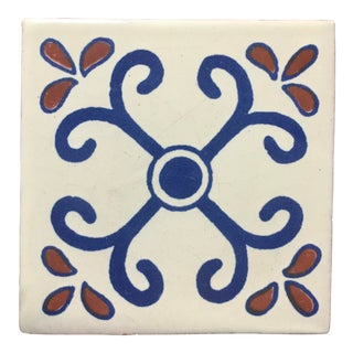 French Country Style Hand Painted Talavera Terra Cotta Tile For Sale