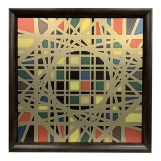 Lary Laslo Large Geometric Mixed Media Painting For Sale