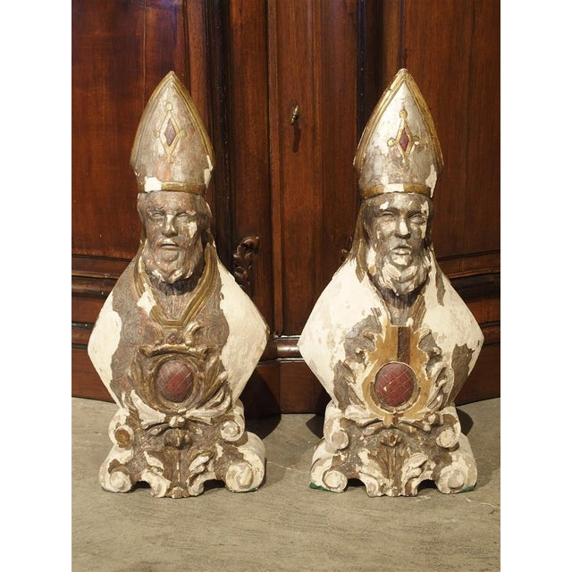 Carved and Parcel Silvered 17th Century Bishops, Lazio Italy - a Pair For Sale - Image 12 of 13
