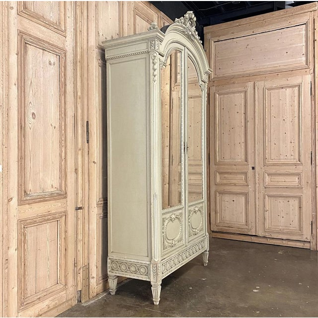 Late 19th Century 19th Century French Louis XVI Painted Armoire For Sale - Image 5 of 13