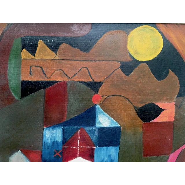 Mid 20th Century Vintage Mid Century Modernist E. Simnowski Original Signed Framed Abstract Oil Painting For Sale - Image 5 of 13