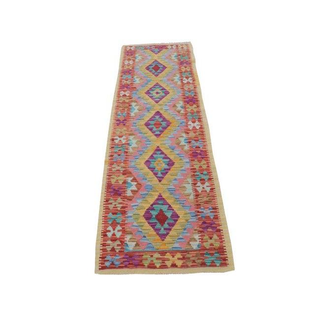 "Afghani Kilim Flatweave Wool Runner Rug Size 1'9""x6'3"" - Image 1 of 4"