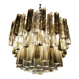 Mid-Century Modern Venini Clear & Dark Glass Chandelier