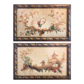 1990s Chinoiserie Hand Painted Panels - a Pair For Sale