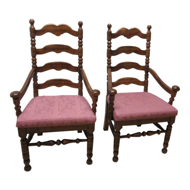 Link Taylor Country Pine Ladder Back Dining Chairs - A Pair For Sale