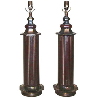 1940s Mid-Century Modern Parzinger Style Tooled Leather Table Lamps - a Pair For Sale