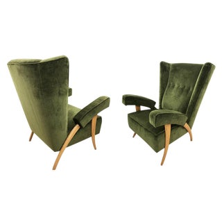 1950s Paolo Buffa Dark Green Velvet Armchairs, Italy - a Pair For Sale