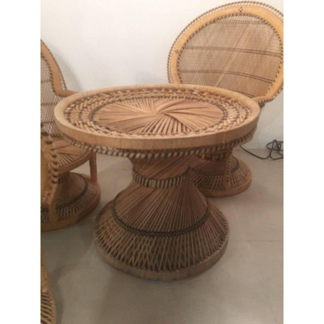 Rattan Wicker Peacock Children S Dining Table Chairs Set Chairish