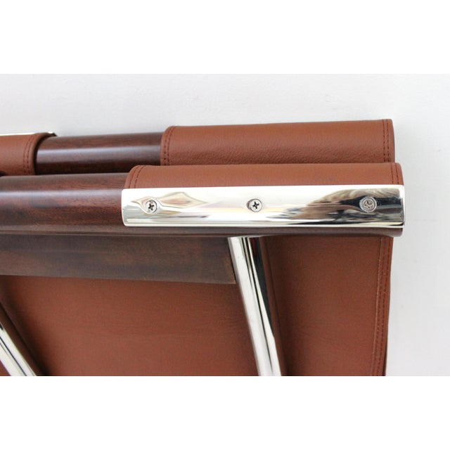 Brown Vintage Folding X-Sling Stools in Leather, Stainless Steel and Mahogany a Pair For Sale - Image 8 of 13