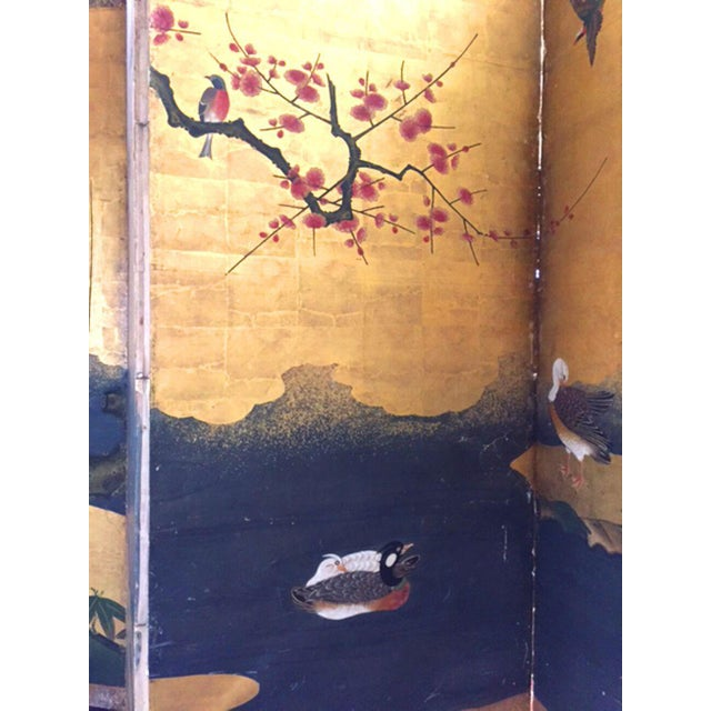 Gold Leaf 18th Century Antique Japanese Gold Leaf Screen with Blossoms and Birds For Sale - Image 7 of 10