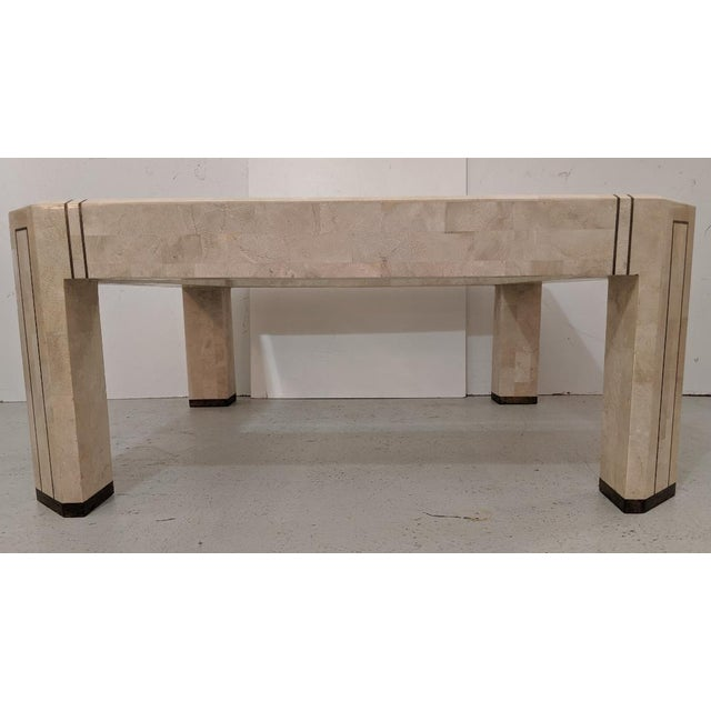 Mid 20th Century Alexvale Furniture - Tessellate Stone Cocktail Table. W/ Brass Trim, Vintage For Sale - Image 5 of 10