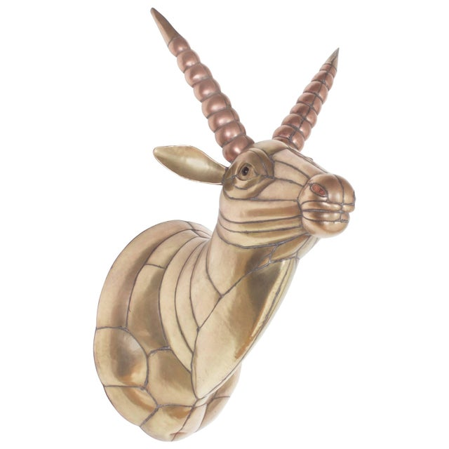 Metal Sergio Bustamante Mid-Century Brass and Copper Gazelle For Sale - Image 7 of 7