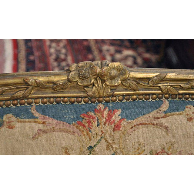Louis XV Carved Gilt & Aubusson Tapestry Canapé - Image 9 of 10