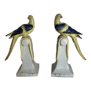 Vintage Extra Large Chinese Parrots on Perches- a Pair For Sale