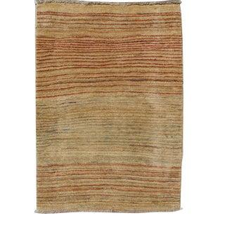 Minimalist Design Vintage Gabbeh Rug With All-Over Stripe Design in Multi-Colors For Sale
