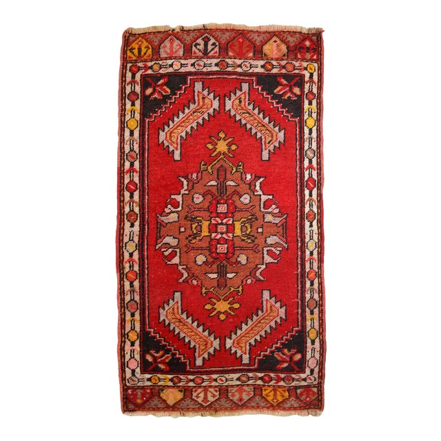 1960s, Handmade Vintage Turkish Yastik Rug 1.6' X 3.1' For Sale