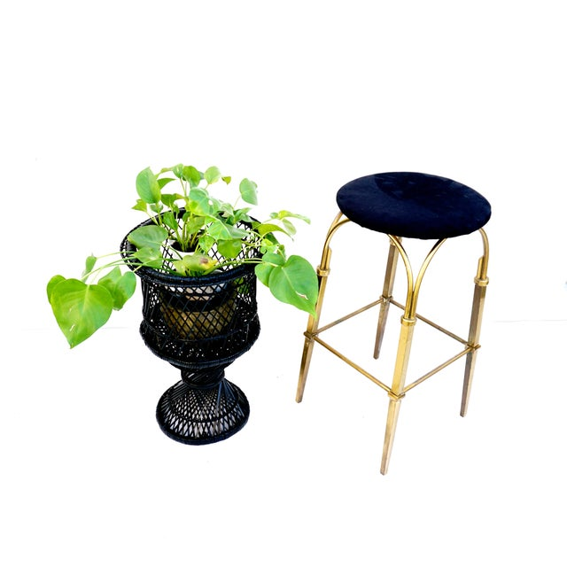 Mid-Century Black Woven Rattan Plant Stand For Sale - Image 4 of 11