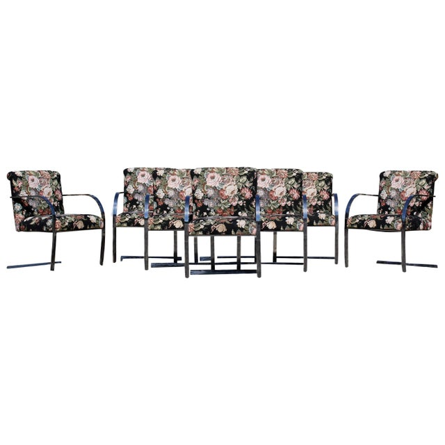 Mid-Century Modern Set Eight Chrome Cantilever Dining Armchairs Knoll Attributed For Sale - Image 11 of 11