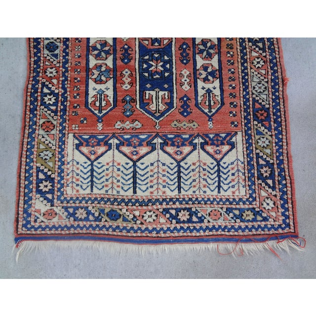 """Vintage Handwoven Peach & Blue Rug - 4'10"""" x 3'2"""" - Image 2 of 7"""
