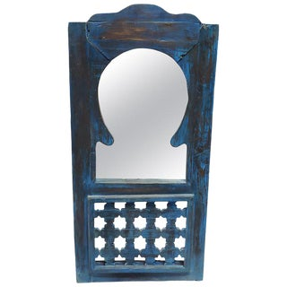 Moroccan Blue Wash Repurposed Wooden Frame Mirror For Sale