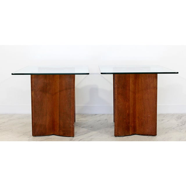 Mid Century Modern Sculptural Wood Glass End Tables - a Pair For Sale In Detroit - Image 6 of 11