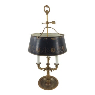 Louis XVI-style French Three-Light Gilt Bronze Bouillotte Lamp with Tole Shade For Sale