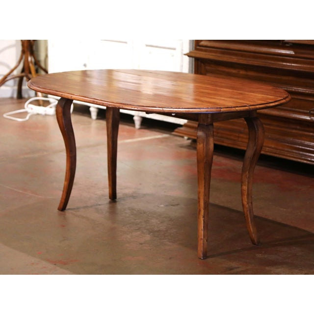 Brown Vintage French Louis XV Carved Walnut Drop Leaf Oval Console Table For Sale - Image 8 of 11