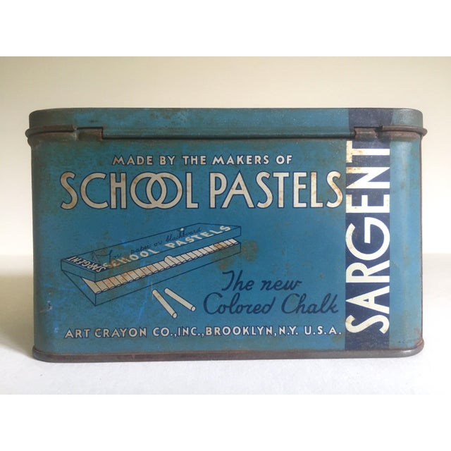 """Blue Rare Vintage 1930's """"Sargent Dustless Blackboard Crayons Brooklyn New York"""" Lithograph Print Tin Box For Sale - Image 8 of 11"""